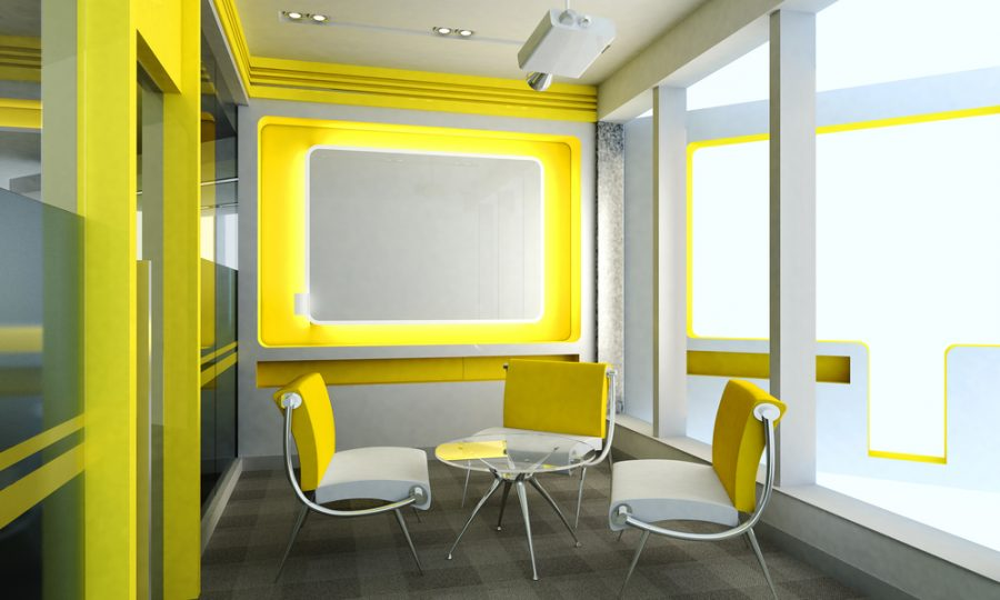 Clean yellow office room